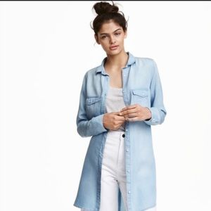 H&M &Denim Lyocell Denim Button Down Tunic Shirt